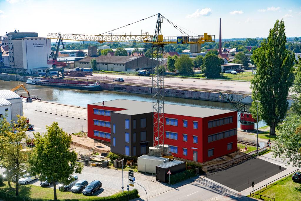 Gebäude Rendering Visualisierung Linzer Str. 13 bayernhafen Regensburg
