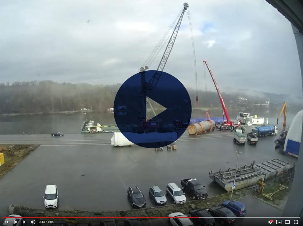Teaser Zeitraffer Montage Liebherr LHM420 bayernhafen Passau