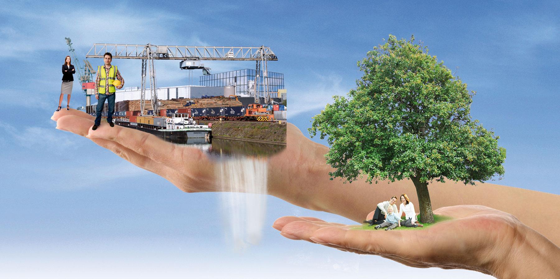 Grafik Hände mit Hafengeschehen und Natur