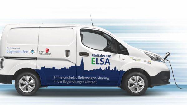 Lieferwagensharing weißes Auto ELSA Nissan e-NV 200