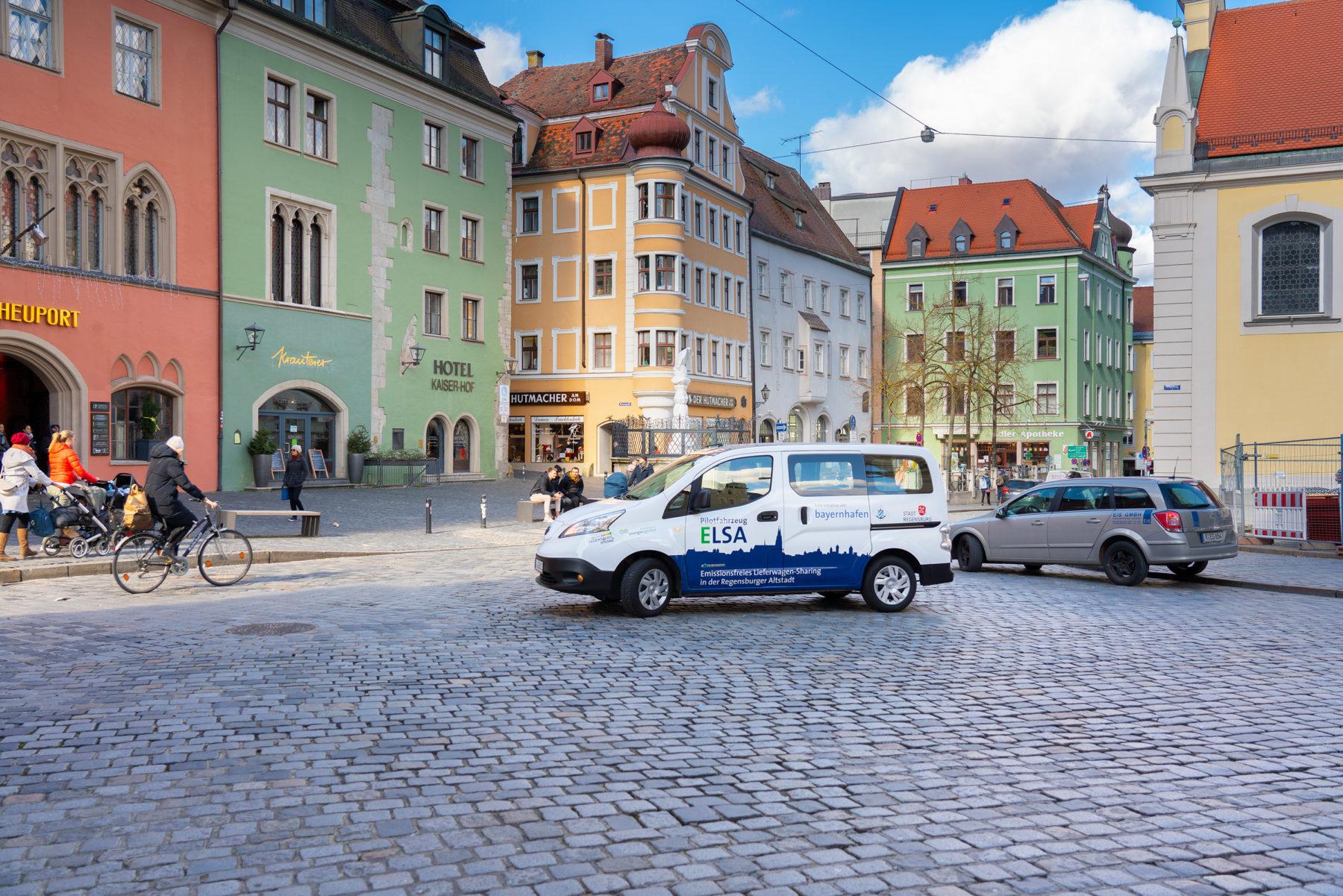 Elsa Lieferwagen sharing_Altstadt Regensburg bayernhafen