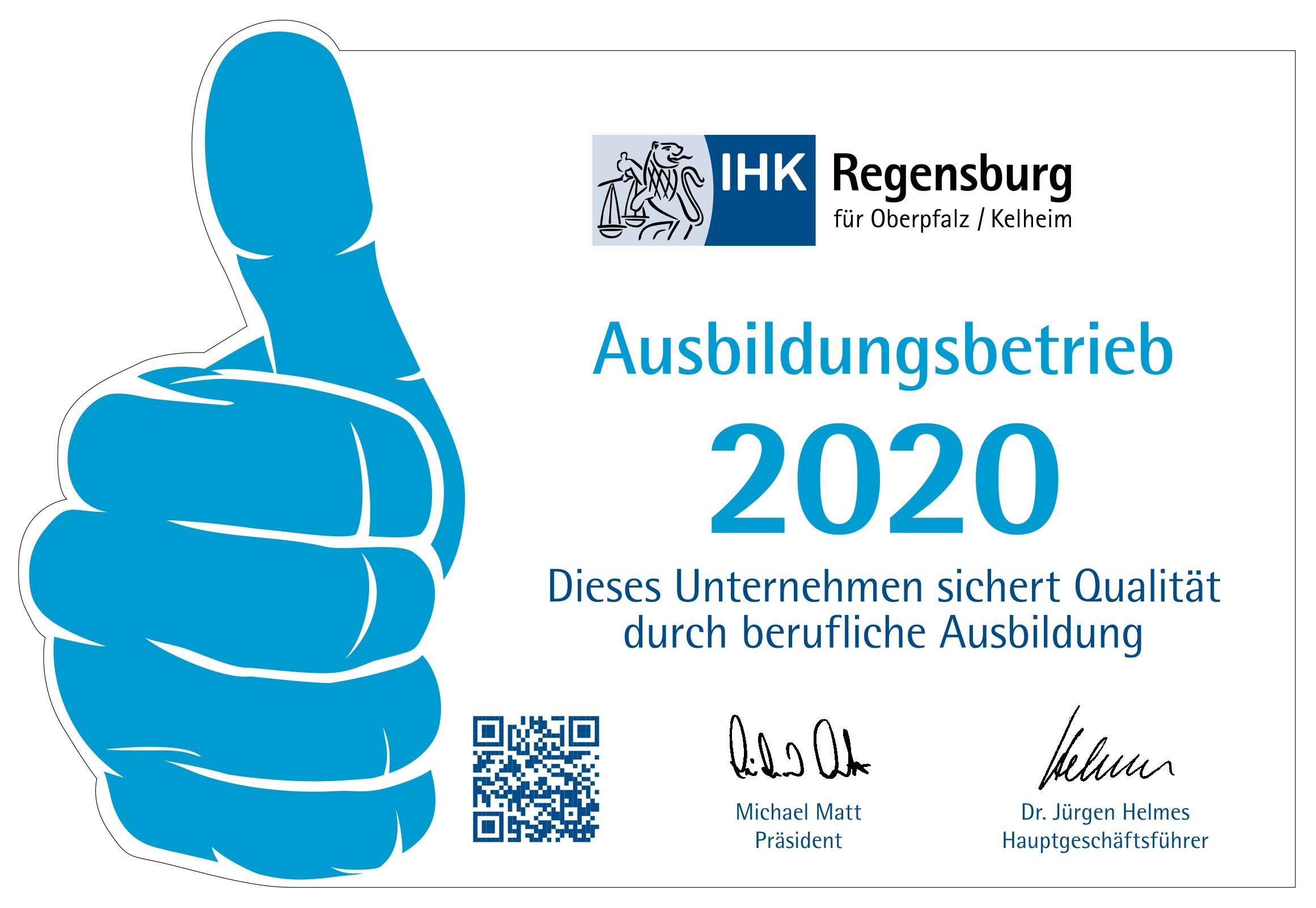 Grafik Auszeichung Ausbildungsbetrieb 2020 IHK Regensburg