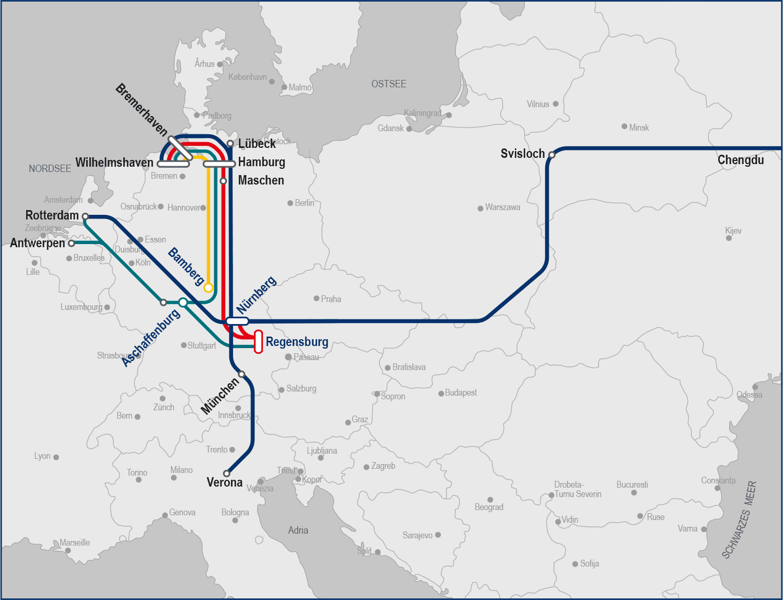 Grafik Verbindungen im Kombinierten Verkehr beyernhafen
