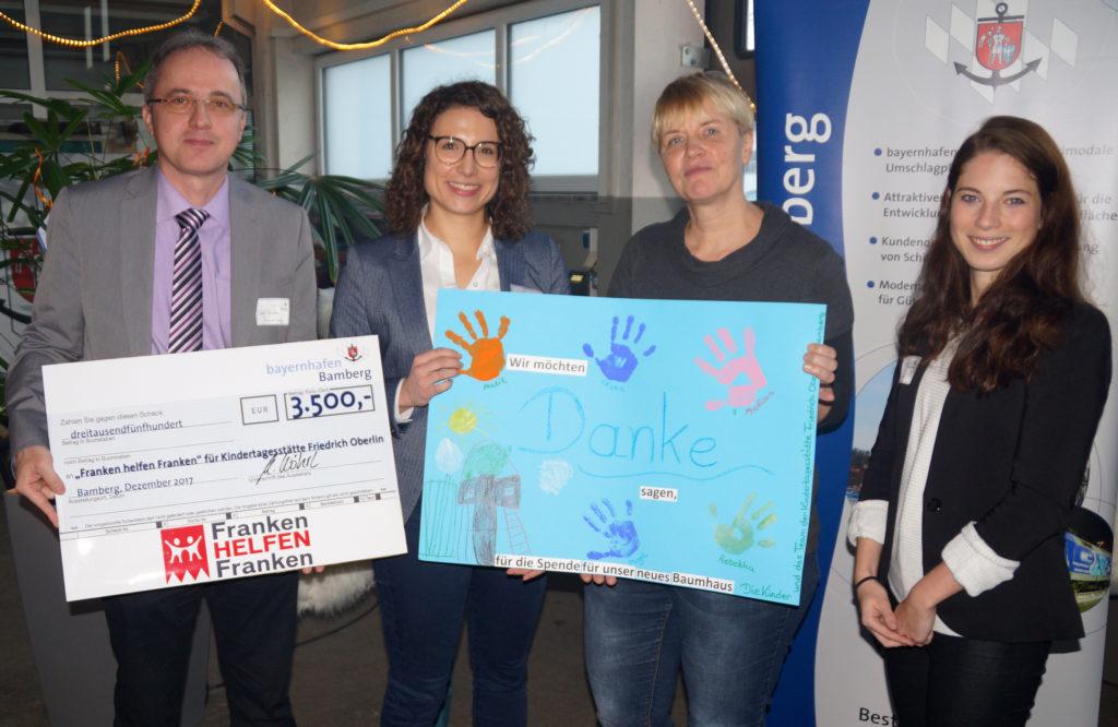 Übergabe Spendenscheck Spende 2017 bayernhafen Bamberg