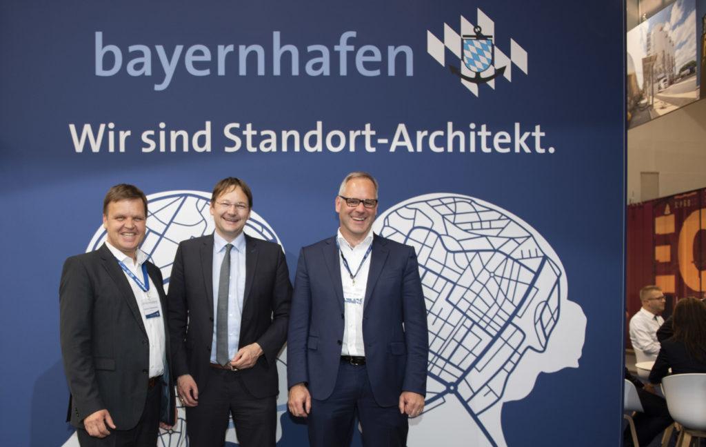 Besuch Minister Dr. Reichhardt am Messestand von bayernhafen transport logistic 2019