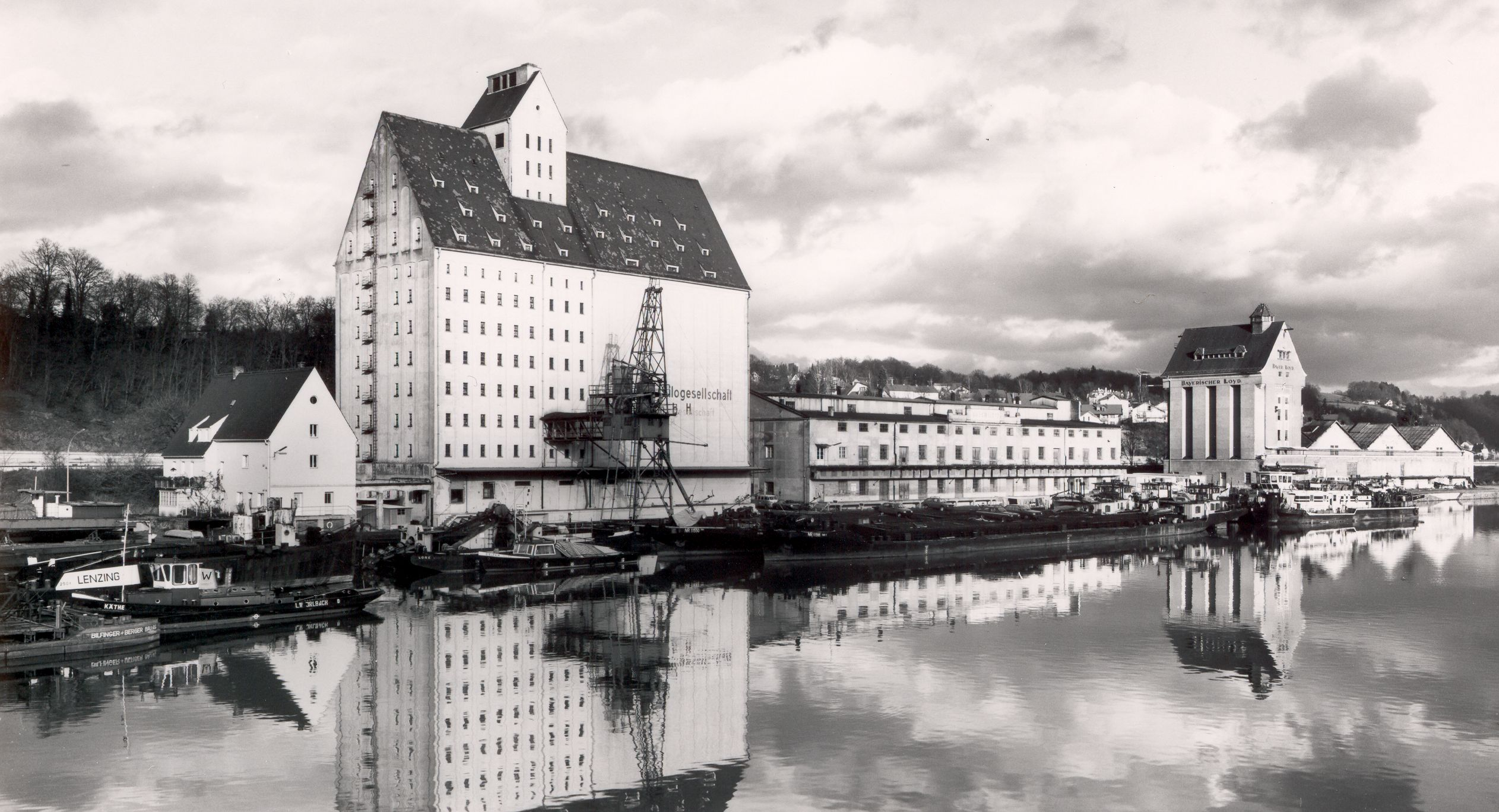 Historische Ansicht des Hafens Passau-Racklau
