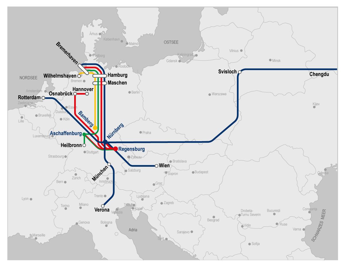bayernhafen Karte Intermodalverbindungen