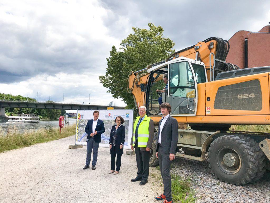 Baubeginn Hochwasserschutz bayernhafen Regensburg