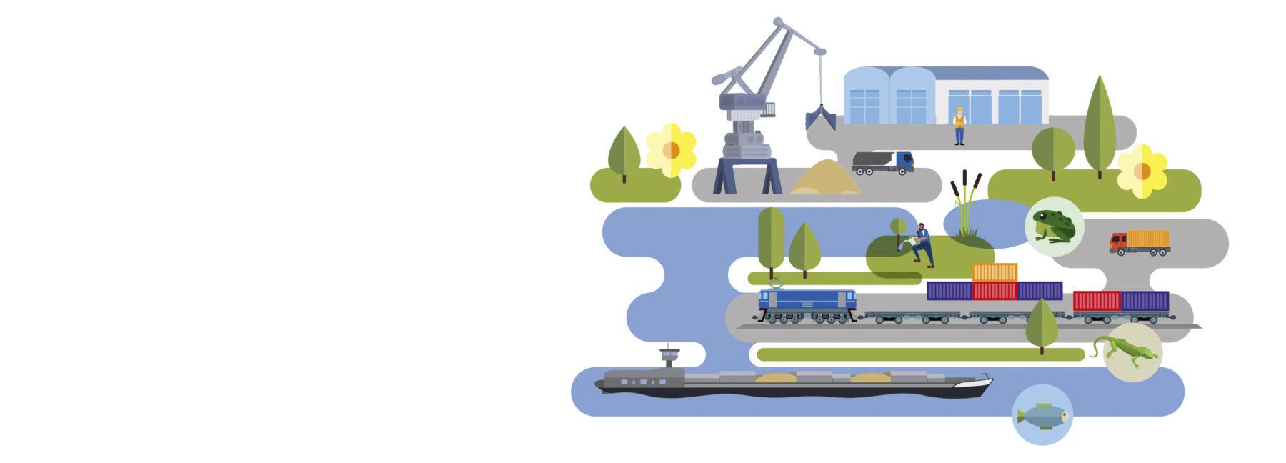 Illustration bayernhafen Naturraum Hafen