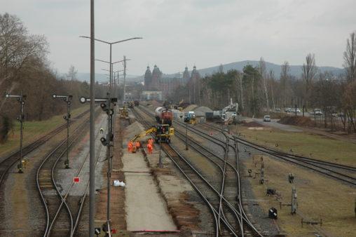 Baumaßnahmen am Hafenbahnhof Aschaffenburg, Stand 10. März 2021