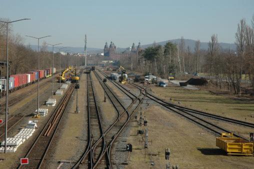 Dokumentation des Baufortschritts am Hafenbahnhof Aschaffenburg vom 1.3.2021