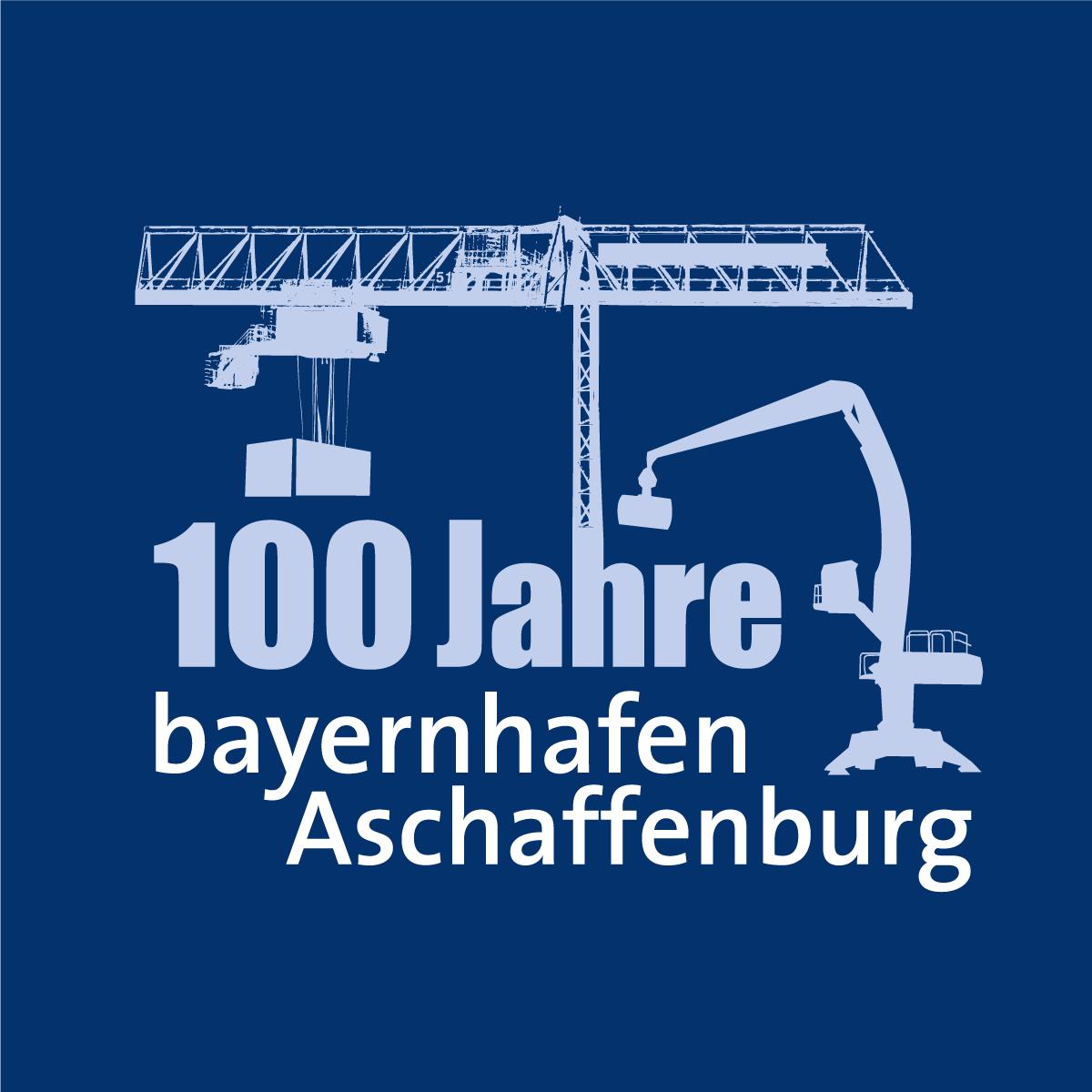 """Logo """"100 Jahre bayernhafen Aschaffenburg"""" auf blauem Grund"""