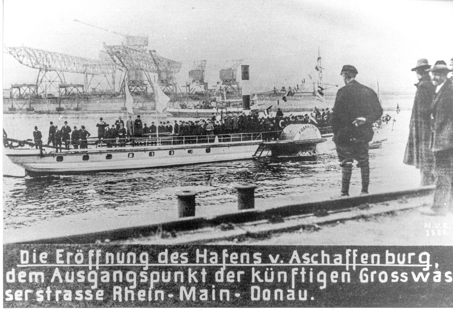 Historisches Foto Eröffnung des Hafens Aschaffenburg (schwarz-weiß)