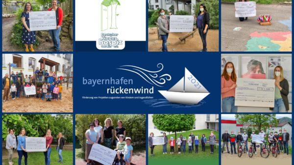 Collage mit allen Siegerprojekten des Spendenwettbewerbs rückenwind 2020/21