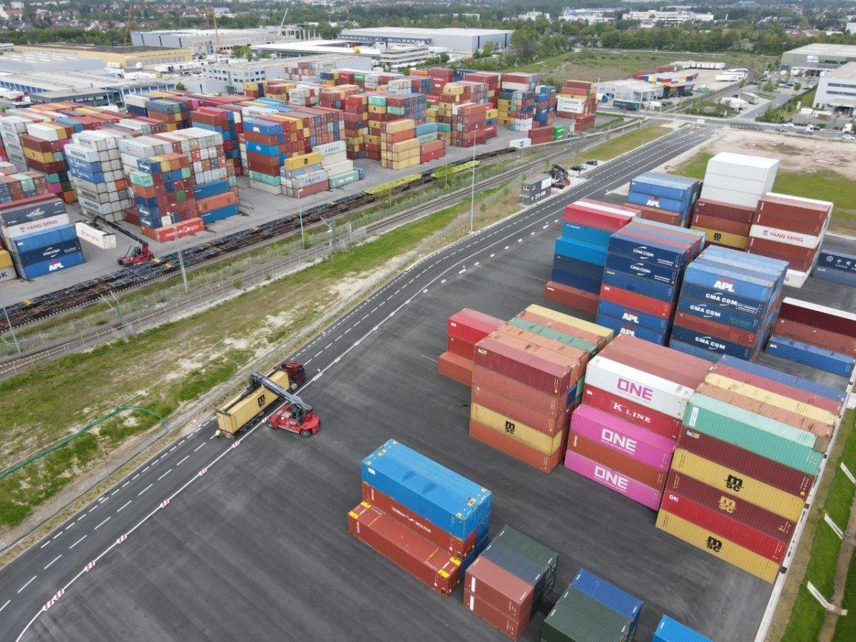 Drohnenaufnahme CDN Container bayernhafen Nürnberg